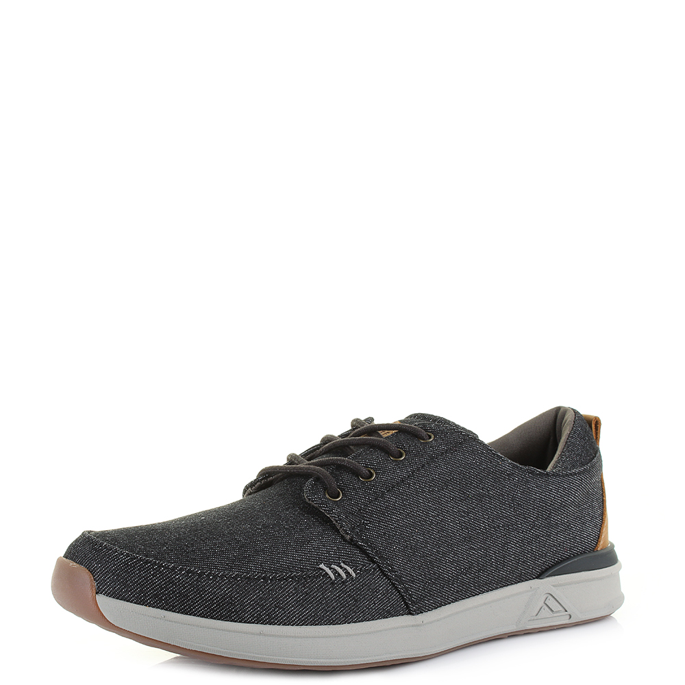 99c1fadf27a Mens Reef Rover Low TX Black Denim Lightweight Casual Trainers Size ...