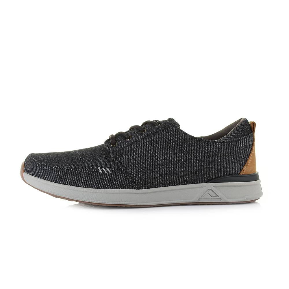 Mens Reef Rover Low TX Black Denim Lightweight Casual Trainers Shu Size