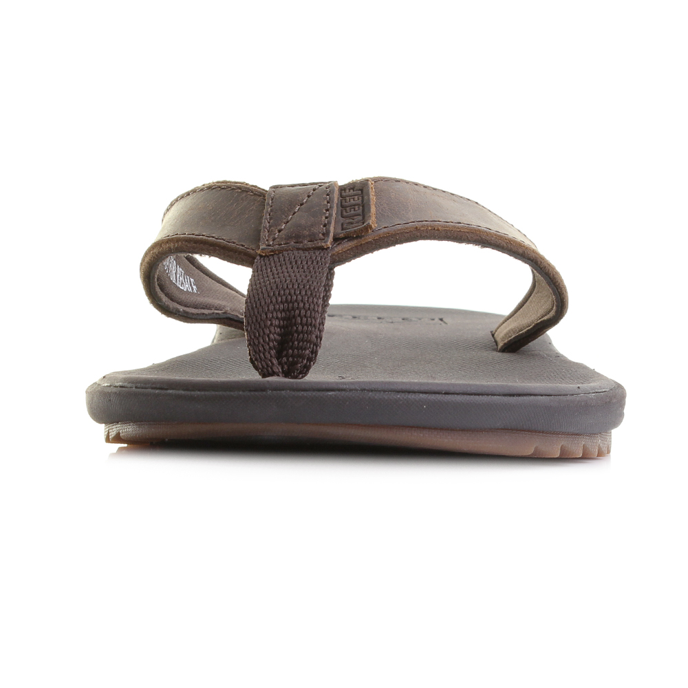 Mens Reef Slammed Rover Lux Brown Leather Flip Flop Sandals Size  e906e2b1a