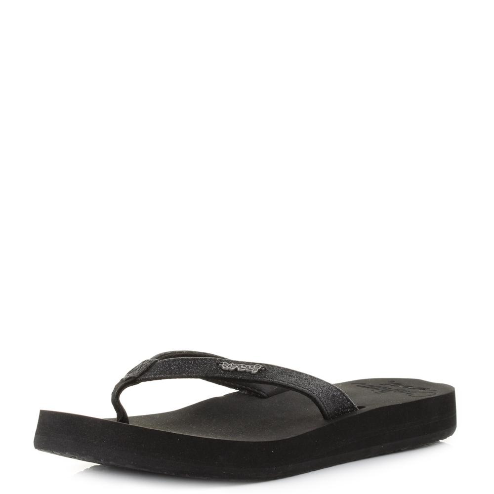 5d98b039f4e446 Womens Ladies Reef Star Cushion Black Glitter Flip Flops Sandals Size