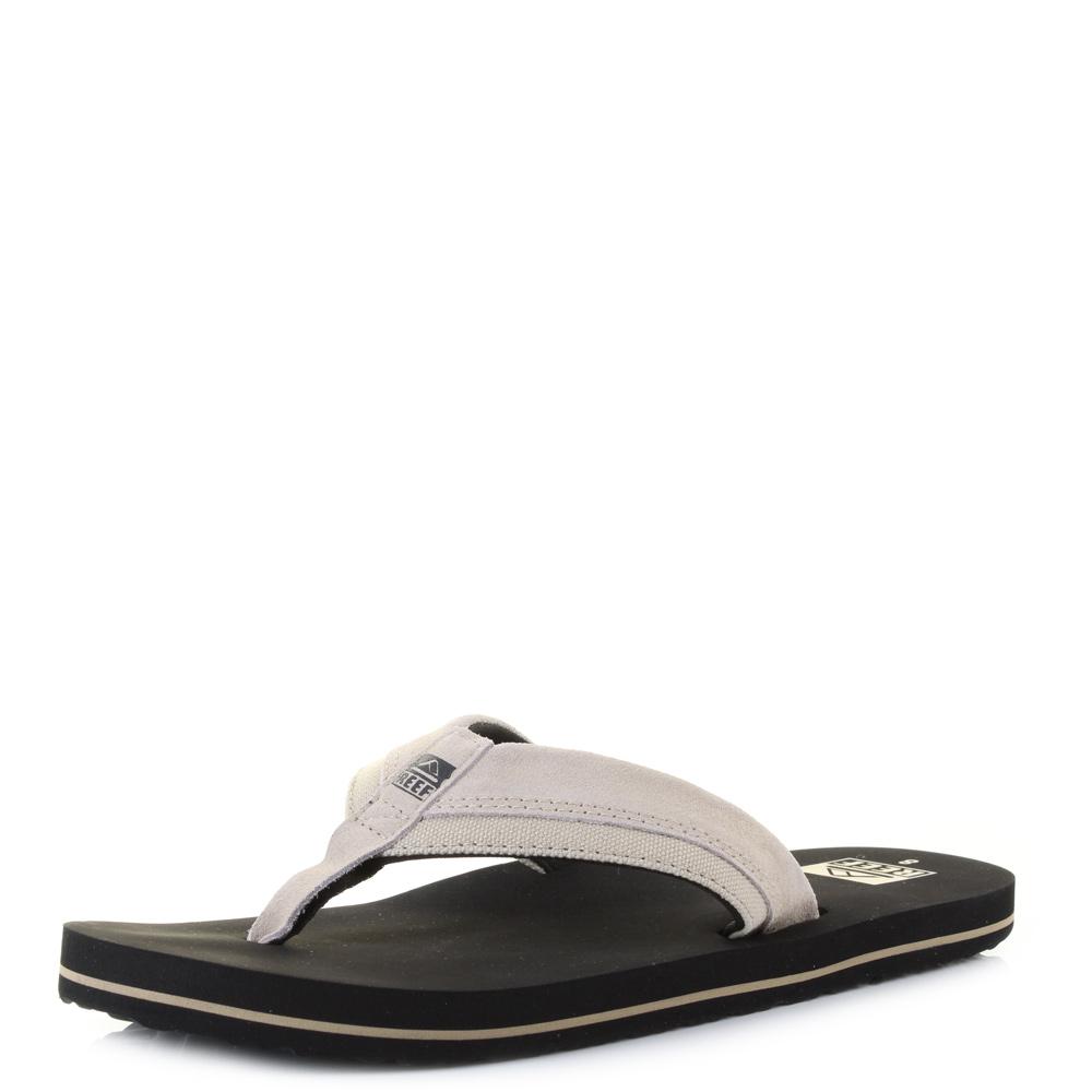 14dfc8a0e Mens Reef Stuyak 2 Black Tan Suede Canvas Flip Flop Sandals Uk Size ...