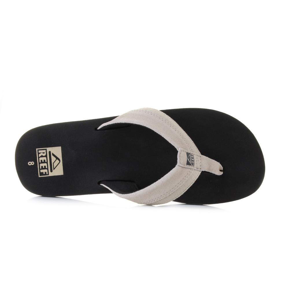 4f13efb7e1e4 Mens Reef Stuyak 2 Black Tan Suede Canvas Flip Flop Sandals Uk Size ...