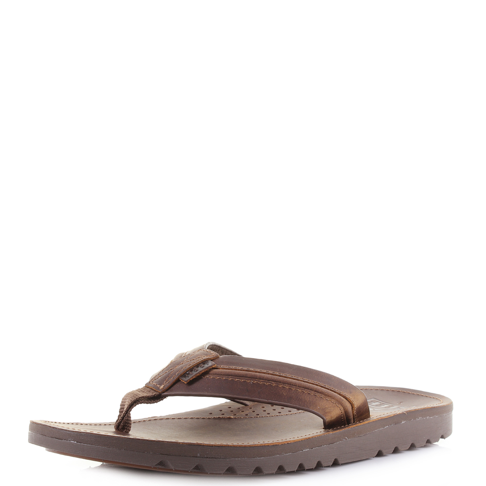 ab2a6628ccd Mens Reef Voyage Lux Brown Brown Premium Leather Sandals Flip Flops Shu Size
