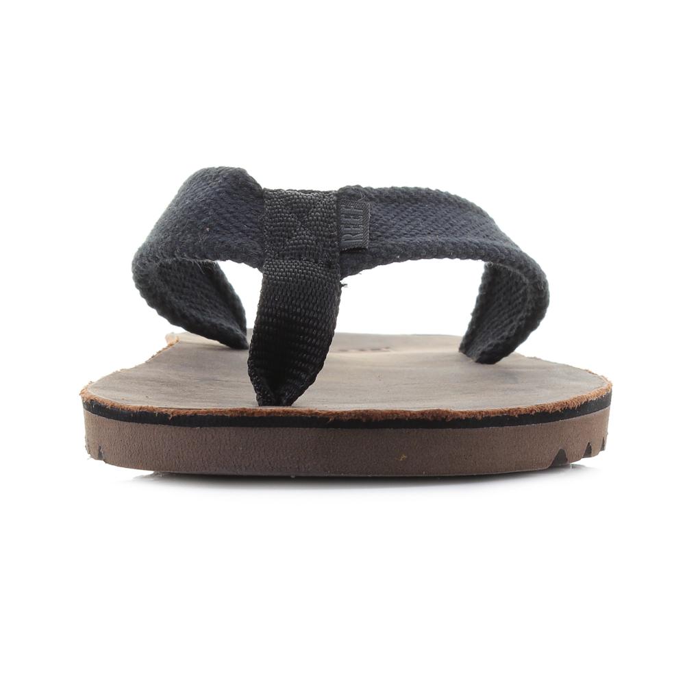 6f2b2ee4f9b7 Mens Reef Voyage TX Black Dark Brown Waxy Leather Flip Flop Sandals Shu Size