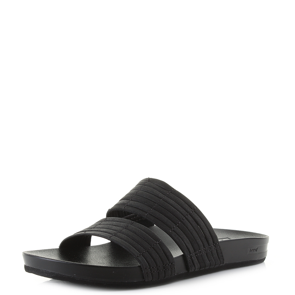 Details About Womens Reef Cushion Bounce Slide Black Summer Sliders Sandals Size