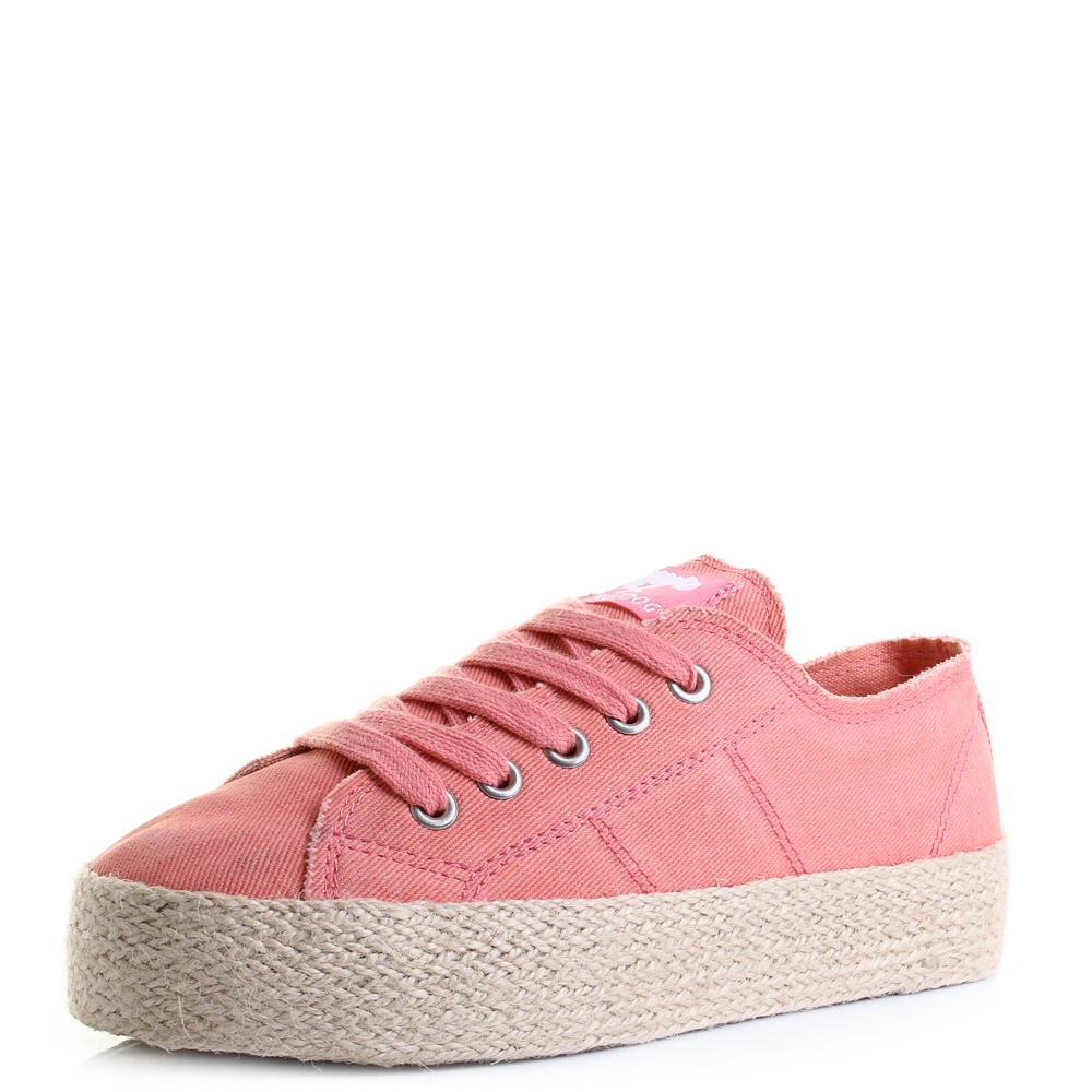 f4145746a27 Womens Rocket Dog Madox Denim Peach Platform Espadrille Shoes Size ...