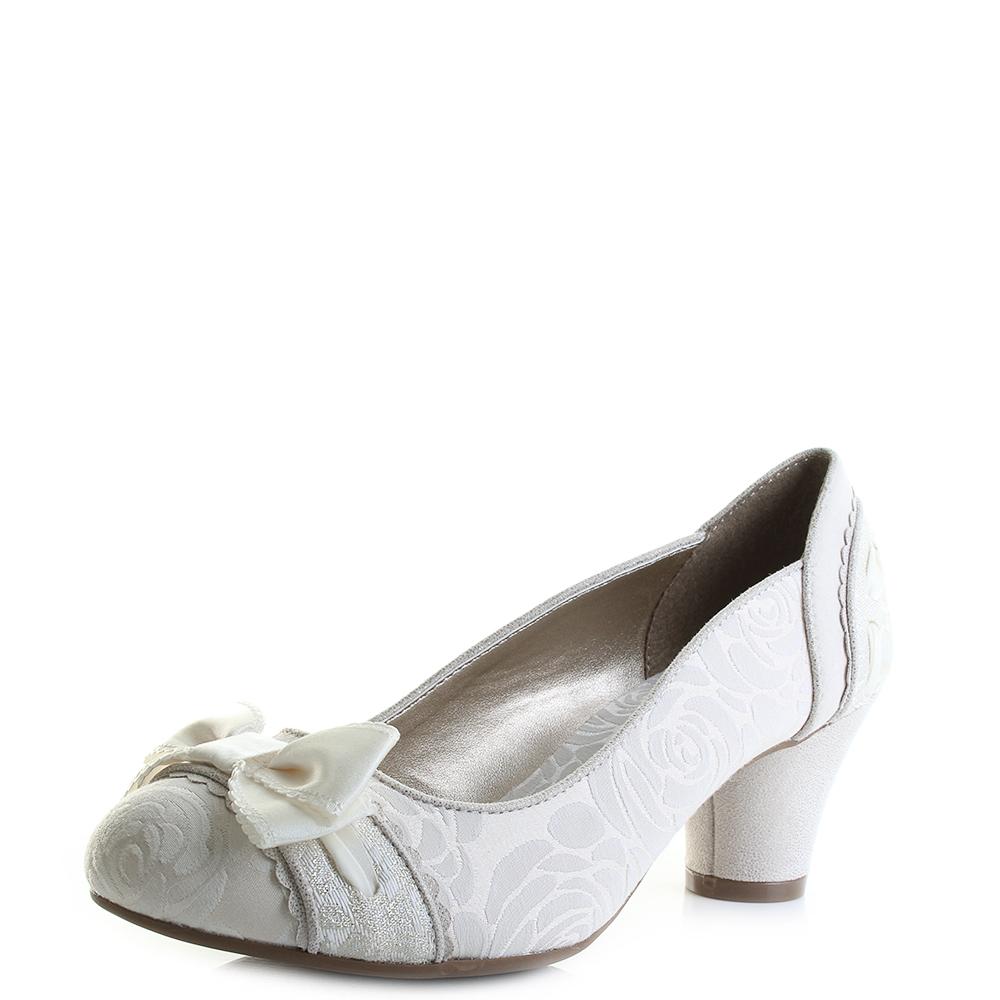 f1a1c634d6006 Womens Ruby Shoo Hayley Cream White Metallic Wedding Bridal Court Shoes Size