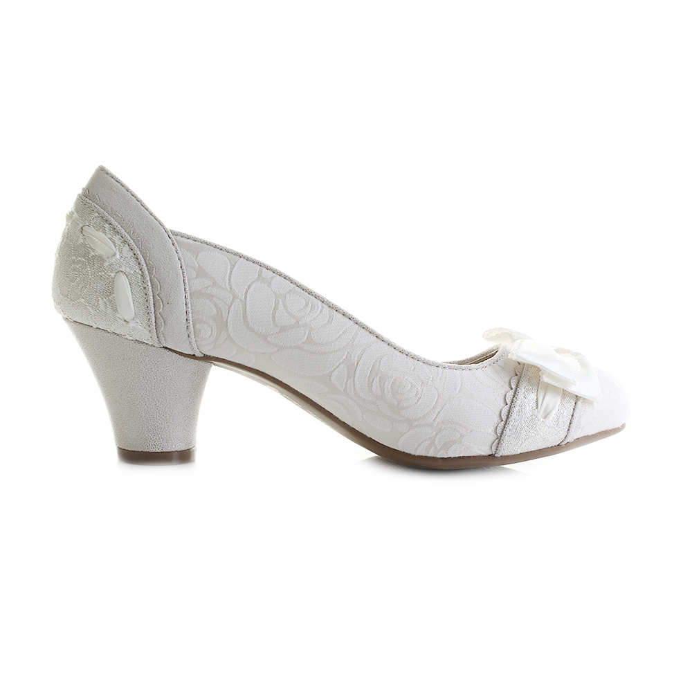 a1a16449742 Womens Ruby Shoo Hayley Cream White Metallic Wedding Bridal Court Shoes Shu  Size