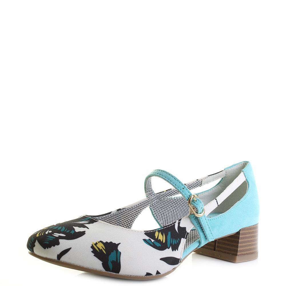 Ruby Shoo Iris Aqua Blue & White Low Heel Vintage Style Shoes UK 3 b7YvUJygAn