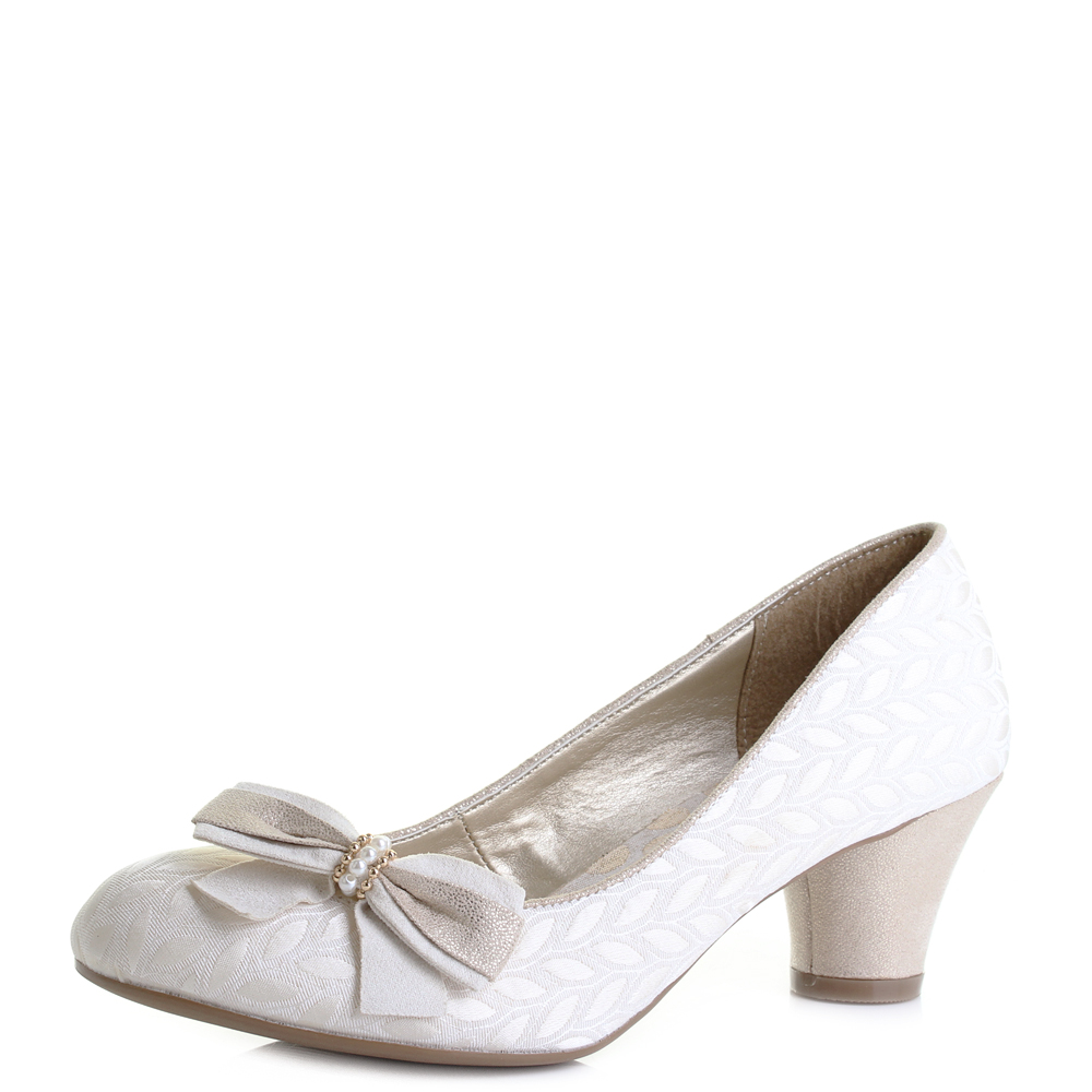 1b8f2cb2 Details about Womens Ruby Shoo Lily Cream Low Heeled Court Shoes UK Size
