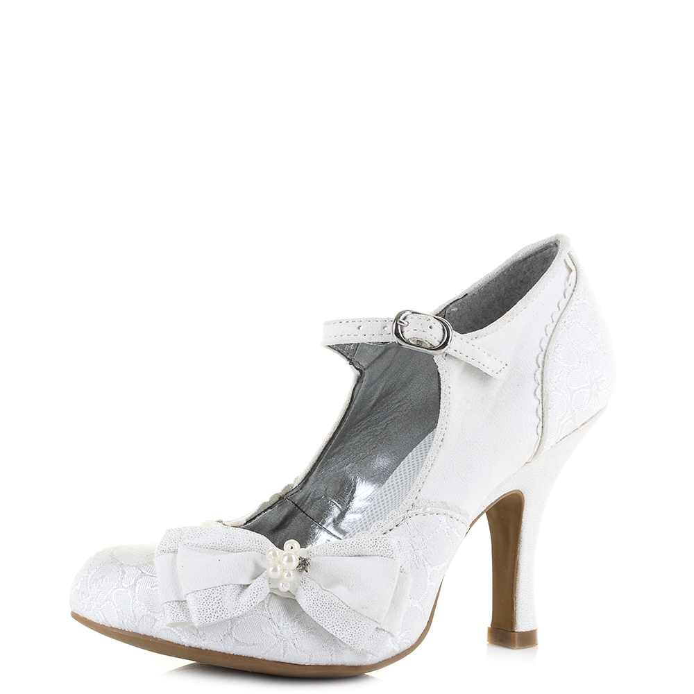 7ad386253ea Details about Womens Ruby Shoo Maria White Silver Wedding Bridal Heels  Shoes Shu Size