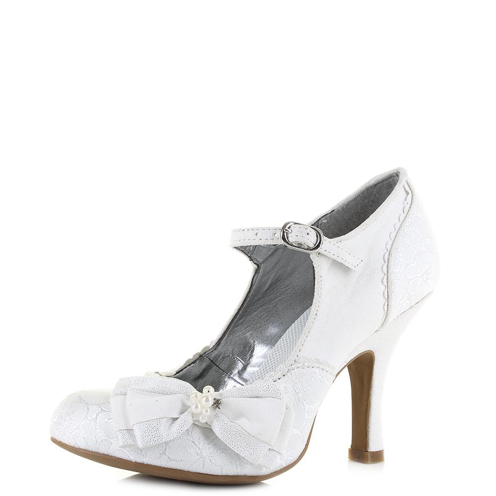 841150b186db Womens Ruby Shoo Maria White Silver Wedding Bridal Heels Shoes Shu Size
