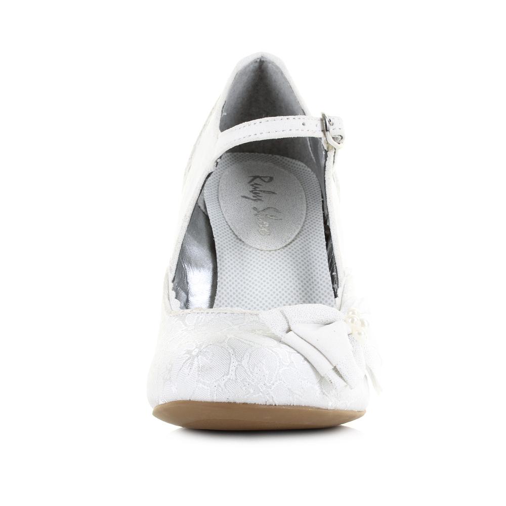 d8e27155649d4 Womens Ruby Shoo Maria White Silver Wedding Bridal Heels Shoes Shu Size