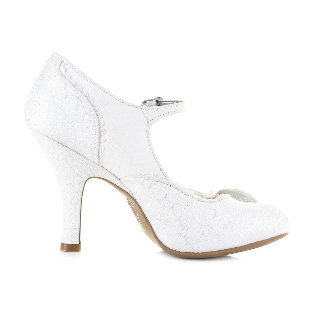 9d6843ea58c Womens Ruby Shoo Maria White Silver Wedding Bridal Heels Shoes Shu ...