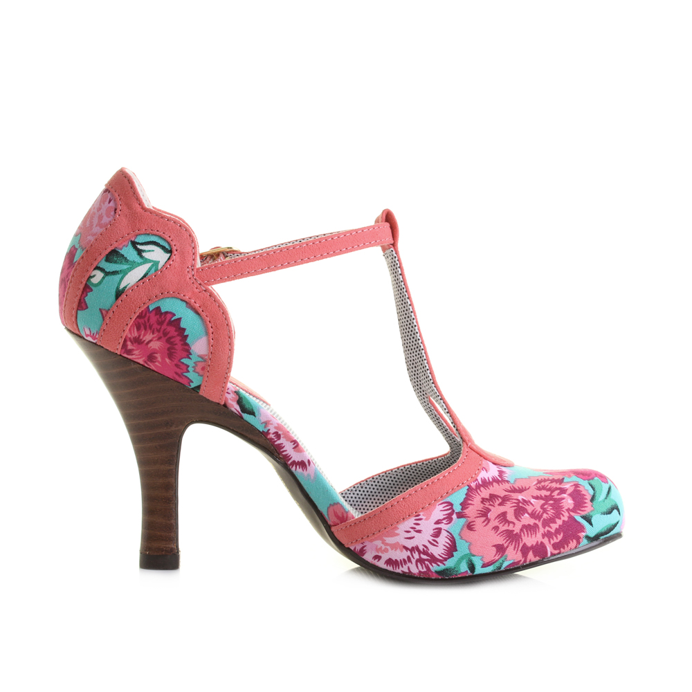 Womens Ruby Shoo Polly Coral Floral High Heeled T Bar Shoes Size