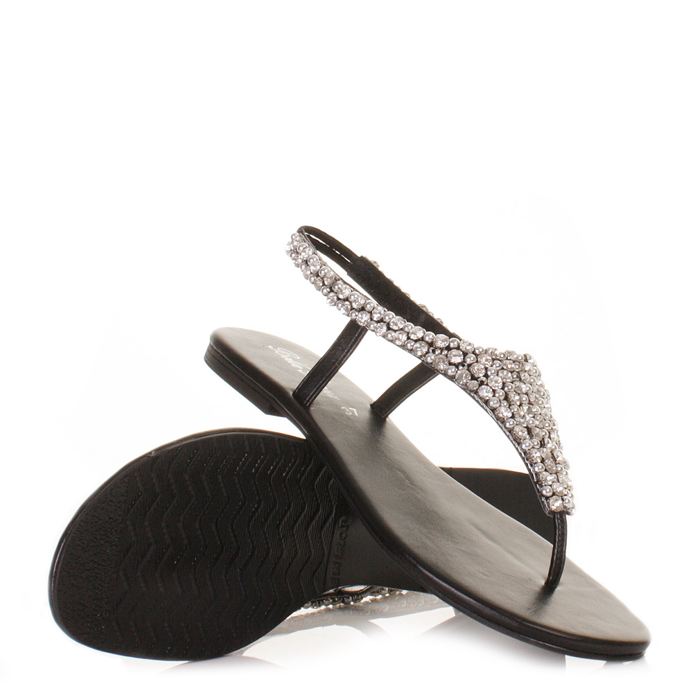 Black Clear Diamante Flat Slingback Wedding Prom Sandals Size 3 8