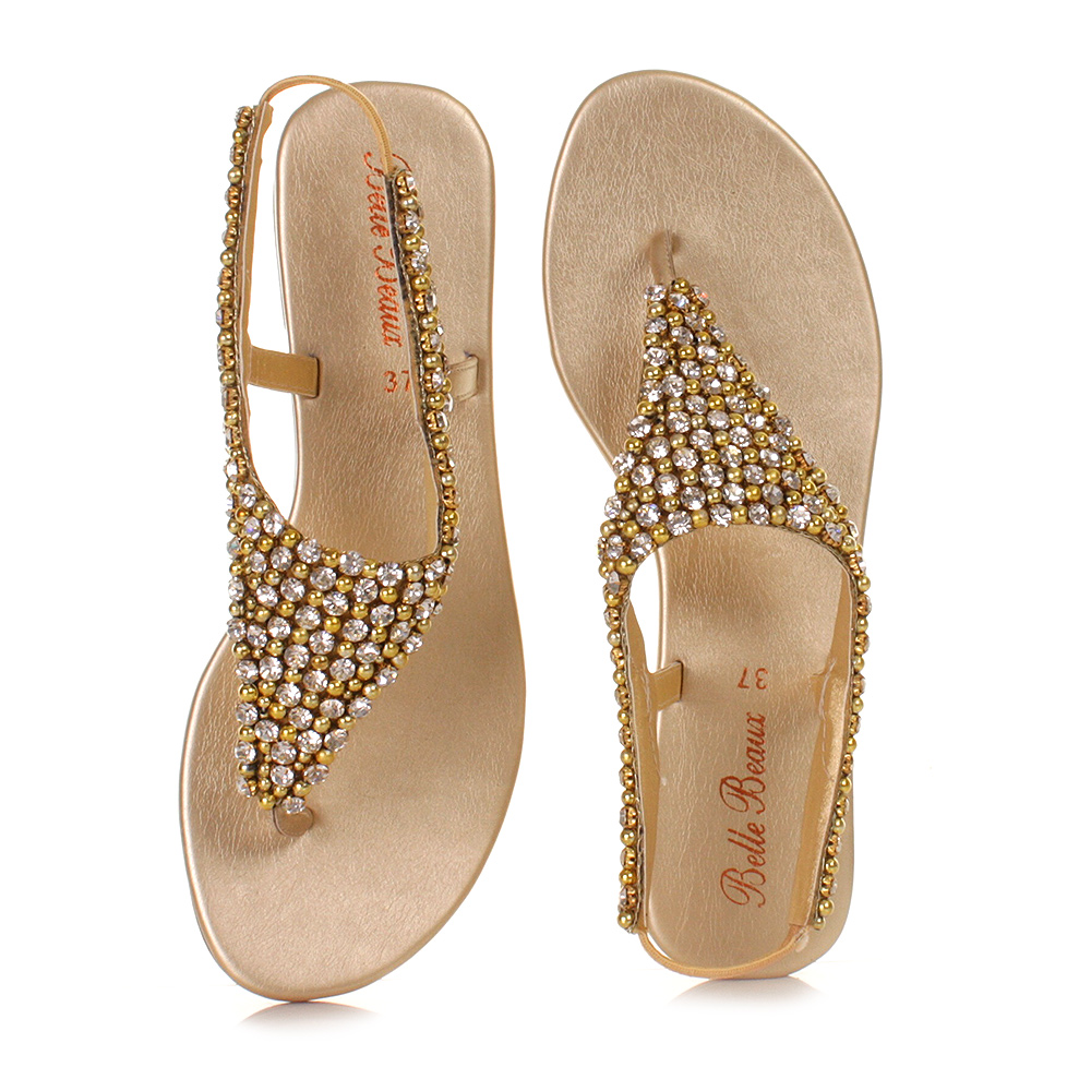 34855a776b9b Womens Ladies Gold Diamante Slingback Shoes Wedding Prom Sandals Size 3-8