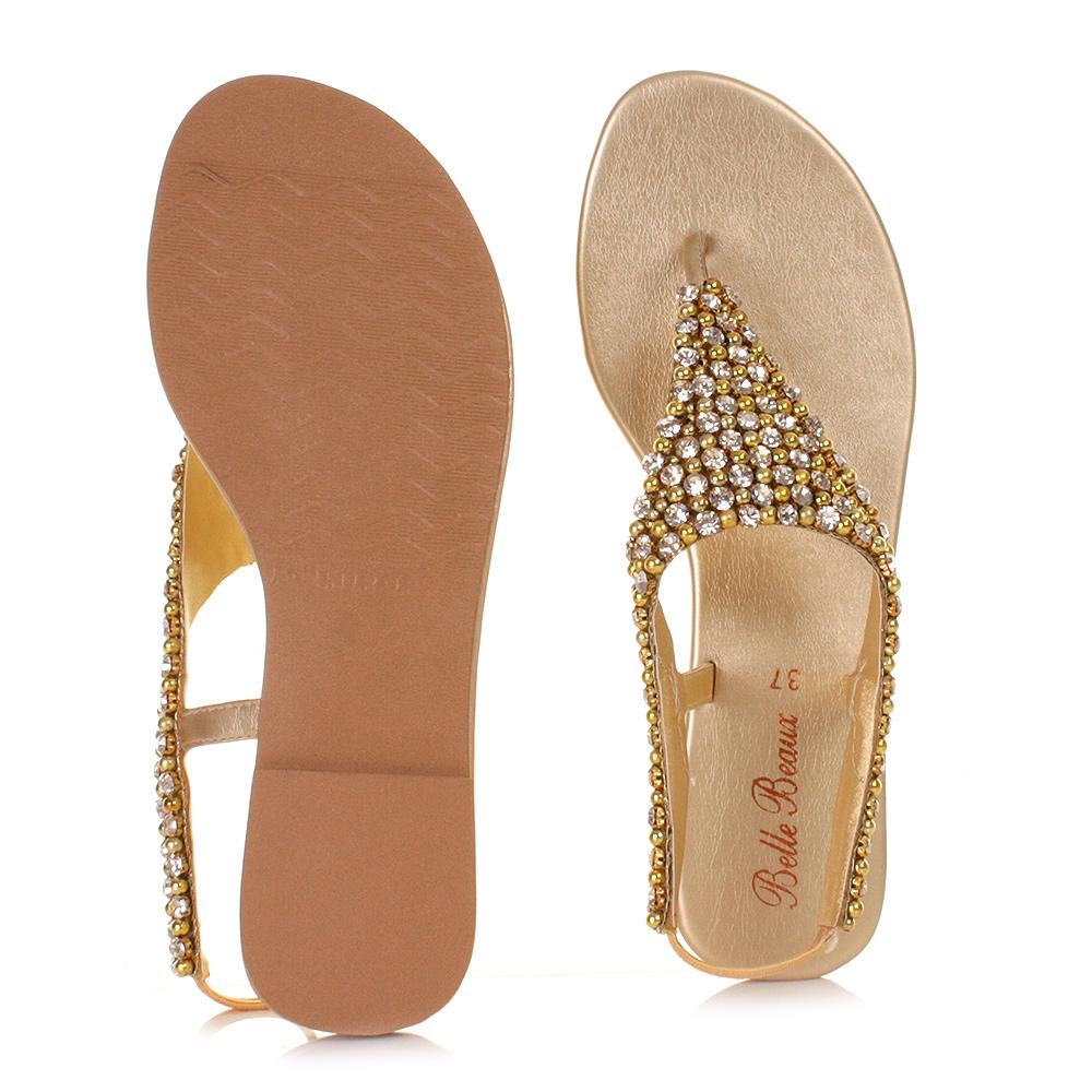 2c95bb8d2dbc Womens Ladies Gold Diamante Slingback Shoes Wedding Prom Sandals Size 3-8