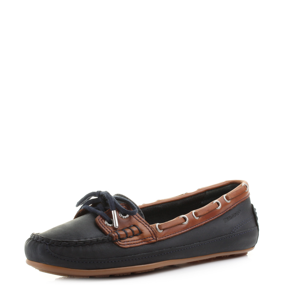 Womens Sebago Bala Mariner Navy Brown Leather Deck Boat Shoes Loafers Size 502775f9b