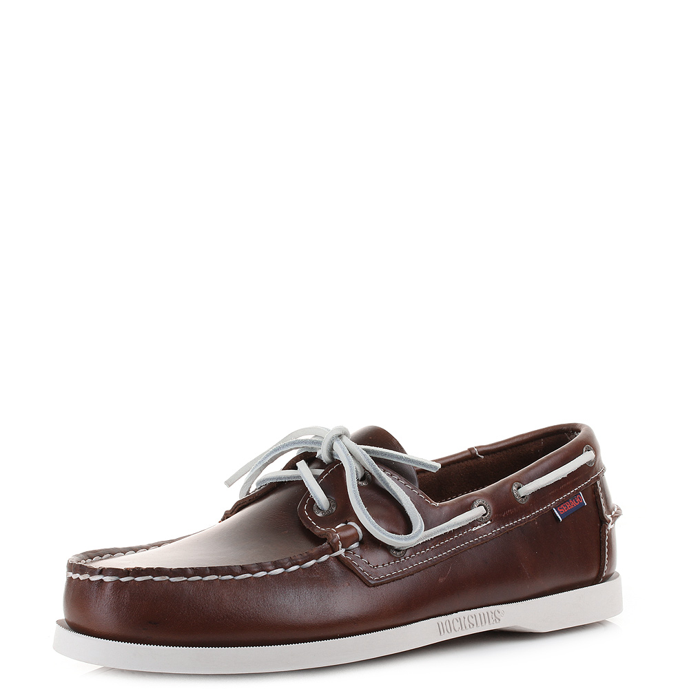 Mens Sebago Dockside Brown Oiled Waxy Brown Leather Boat Deck Shoes Size