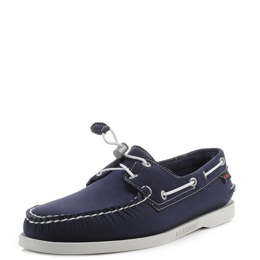Mens Sebago Dockside Navy Neoprene Comfort Deck Boat Shoes Shu Size