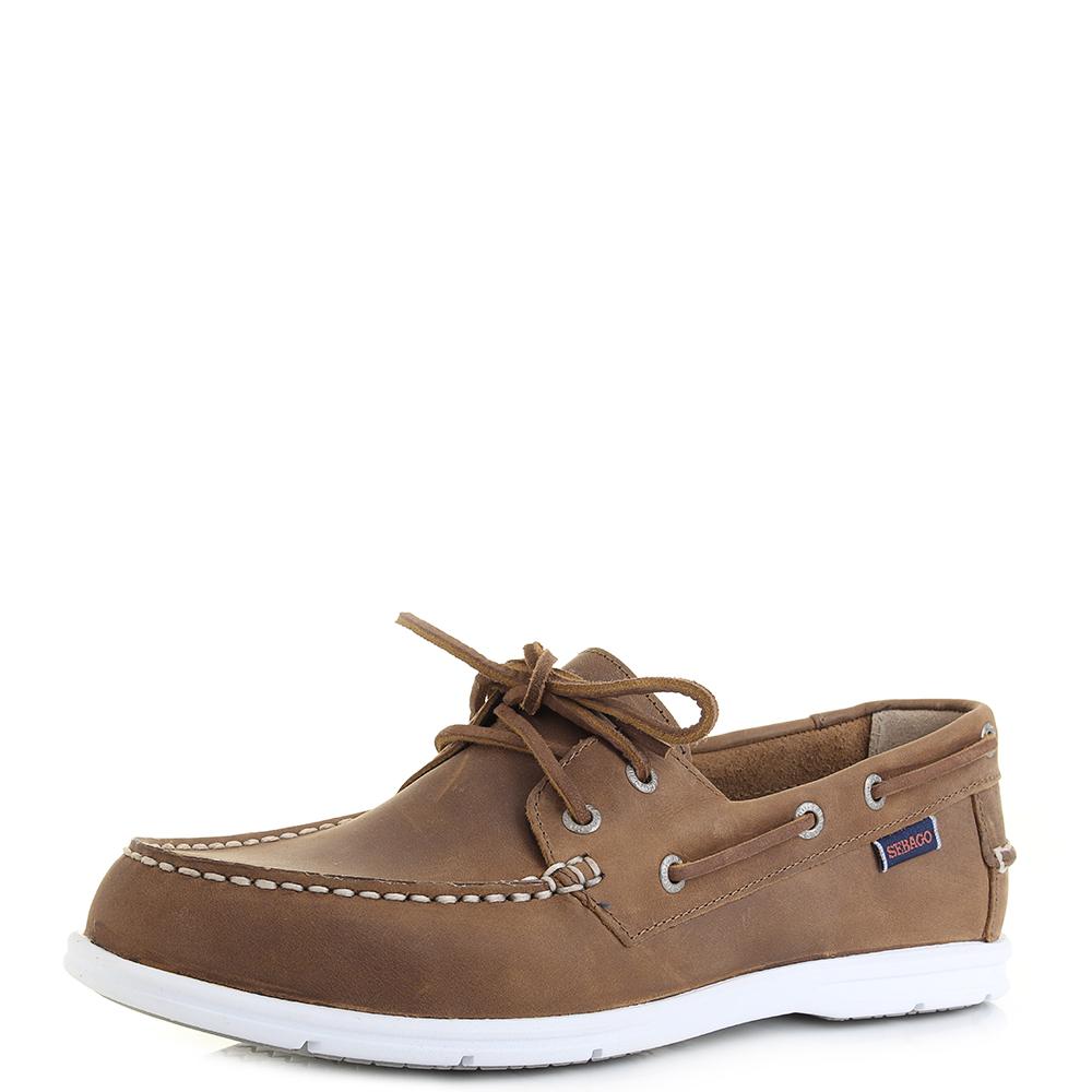 Men's Sebago Litesides Two Eye Boat Shoes-Medium Brown Leather,8H