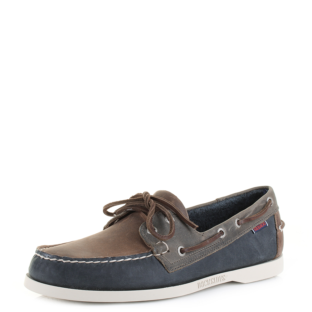 0eb617ea9040c Mens Sebago Spinnaker Brown Navy Grey Leather Nautical Boat Shoes UK Size