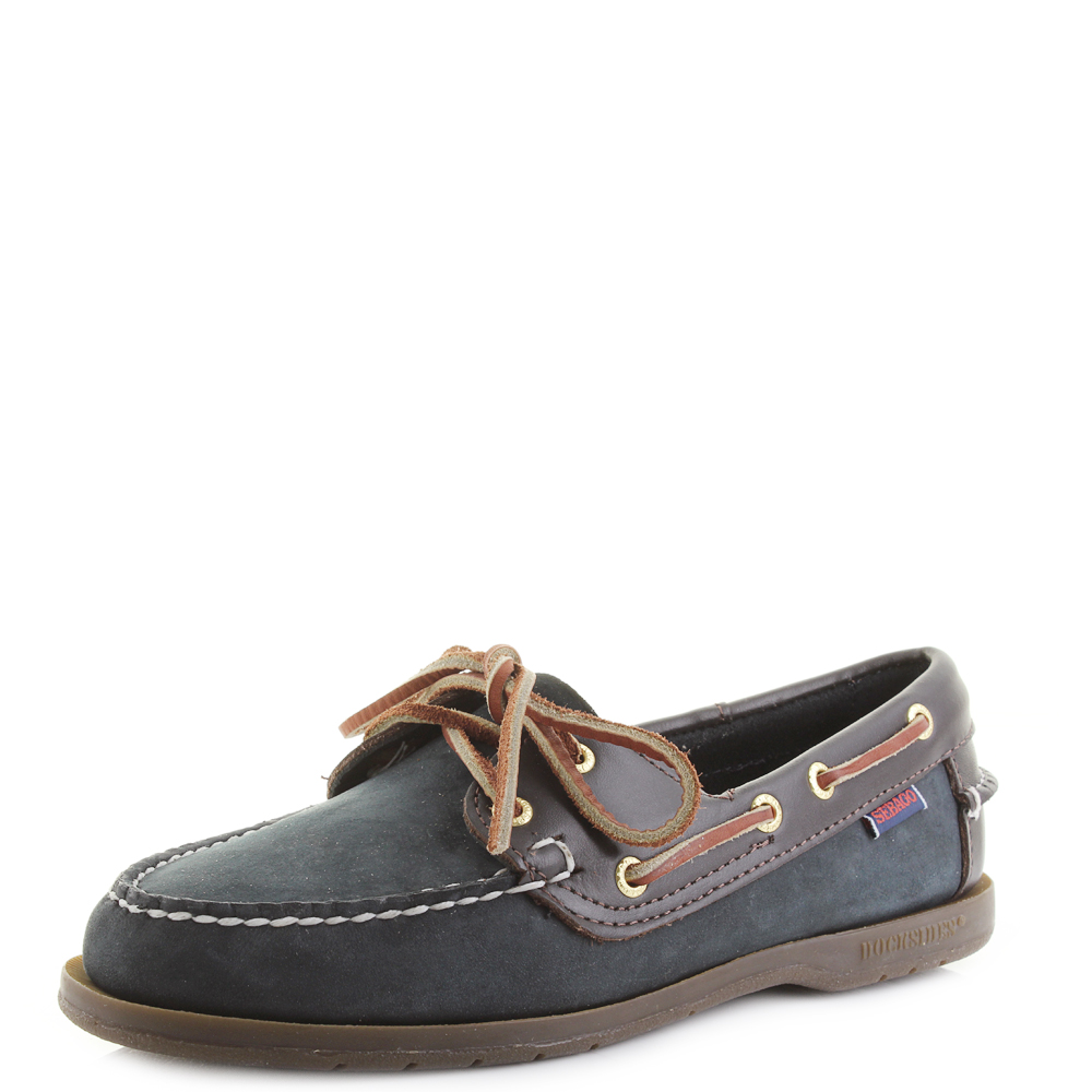 7acce88464f Details about Womens Sebago Victory Navy Wine Full Leather Brown Blue Boat  Shoes Shu Size