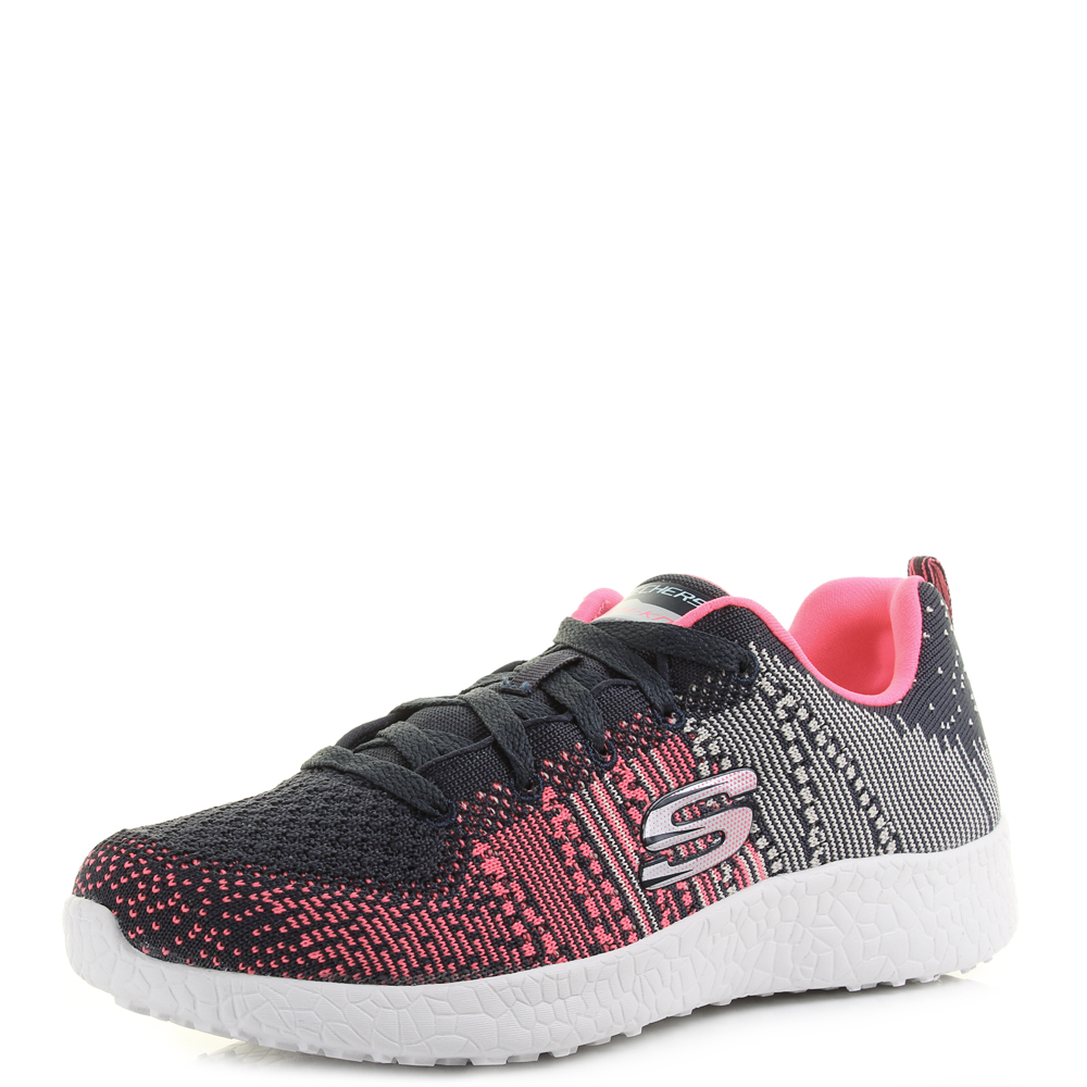 c8de2c1797 Womens Skechers Burst Ellipse Charcoal Pink Knit Mesh Trainers Shoes Shu  Size