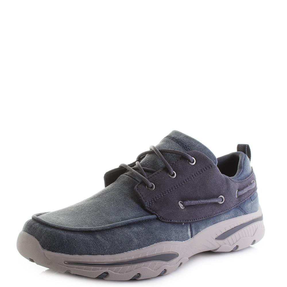 1c466b628d82 Mens Skechers Creston Vosen Navy Lightweight Canvas Shoes Shu Size ...