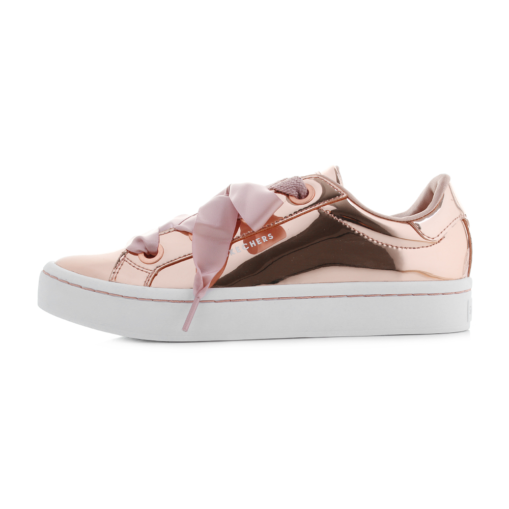 Details about Womens Skechers Hi Lites Liquid Bling Rose Gold Metallic Trainers Size