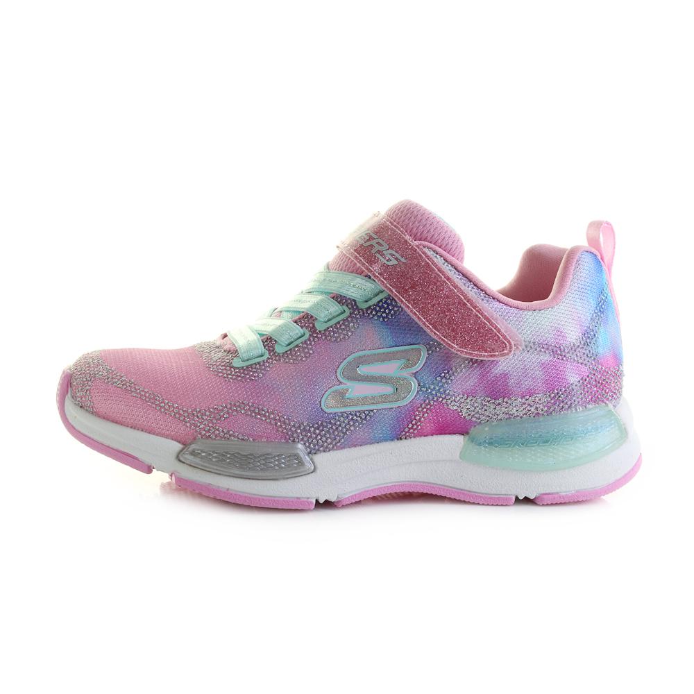 13de3f418832 Girls Skechers Jumptech Dreamy Daze Light Pink Glitter Trainers Shu ...