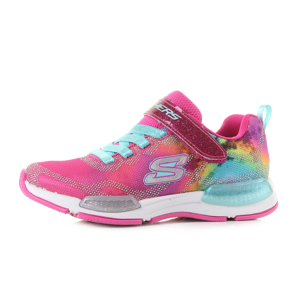 4a728602e60f Kids Skechers Jumptech Dreamy Daze Neon Pink Multi Lightweight Trainers Shu  Size