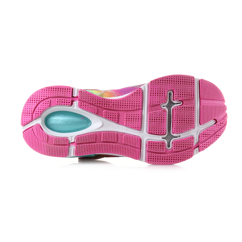 d5c88ee523f7 This is a brightly coloured glitter infused girls trainer that uses a bright  multi colour scheme that is bold and appealing. The rip tape fastening  matched ...