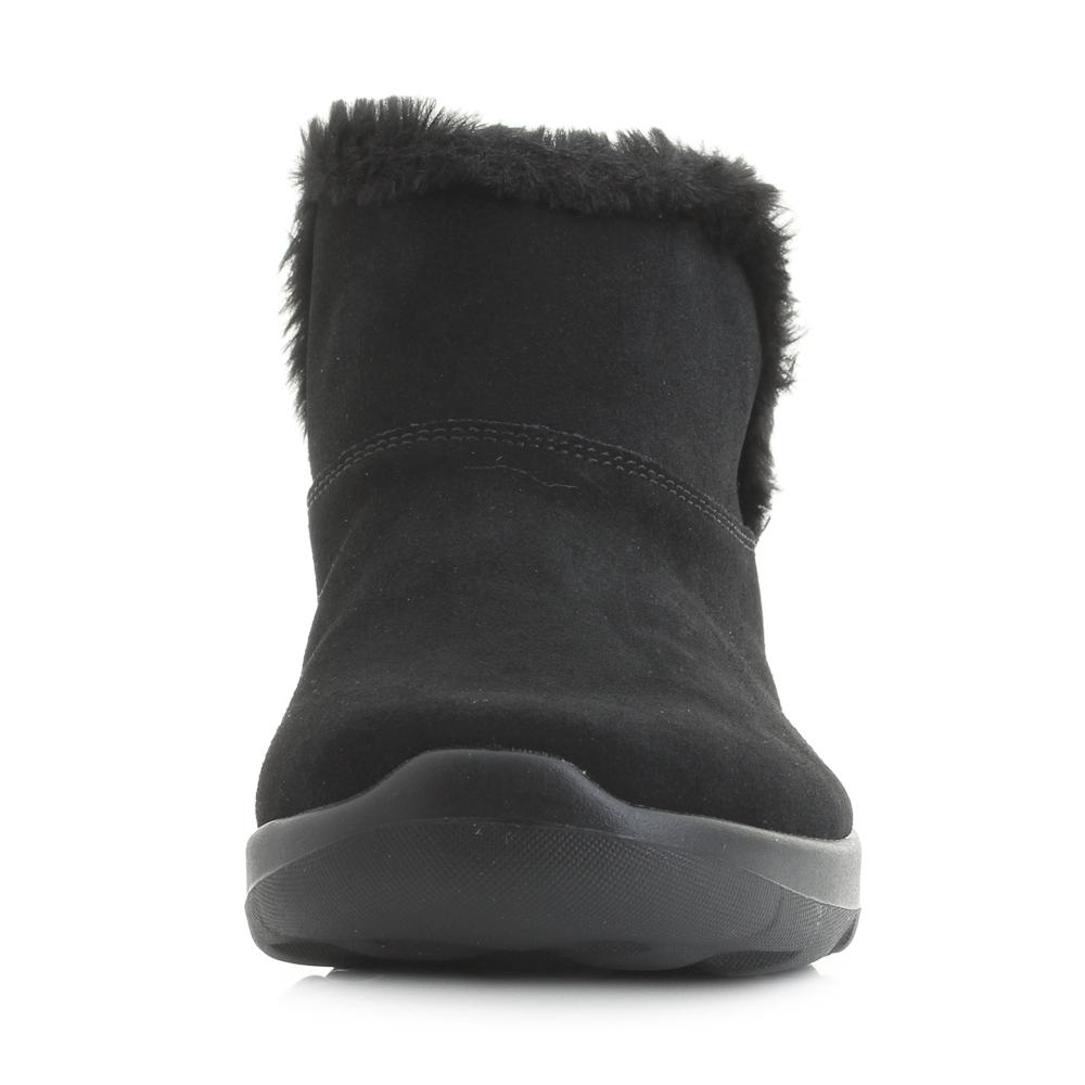 0cef6c348d22e Details about Womens Skechers On The Go Joy Bundle Up Black Suede Faux Fur  Ankle Boots Shu Siz