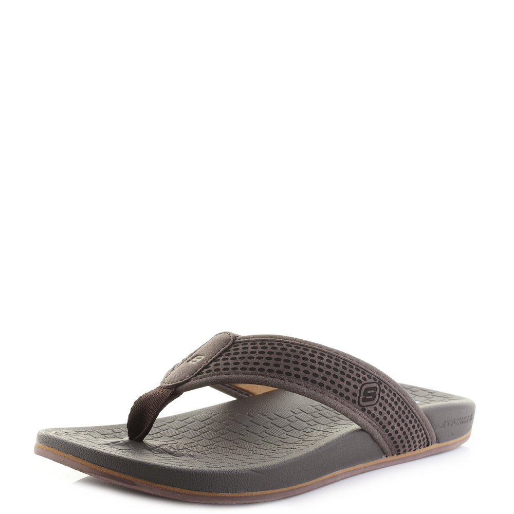 be0c0edd1247 Mens Skechers Pelem Emiro Dark Brown Comfort Flip Flops Shu Size