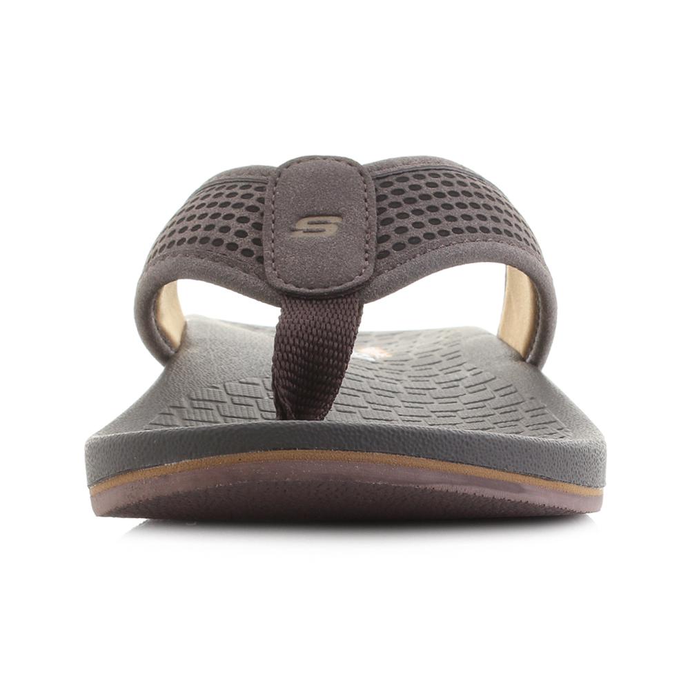 a54b72f1d147 Mens Skechers Pelem Emiro Dark Brown Comfort Flip Flops Size