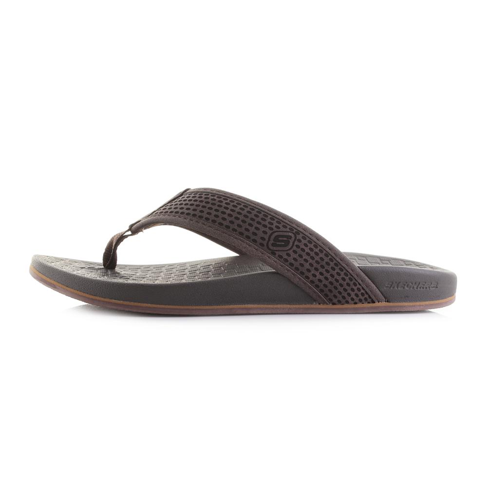 9eb3b90f36de Mens Skechers Pelem Emiro Dark Brown Comfort Flip Flops Shu Size