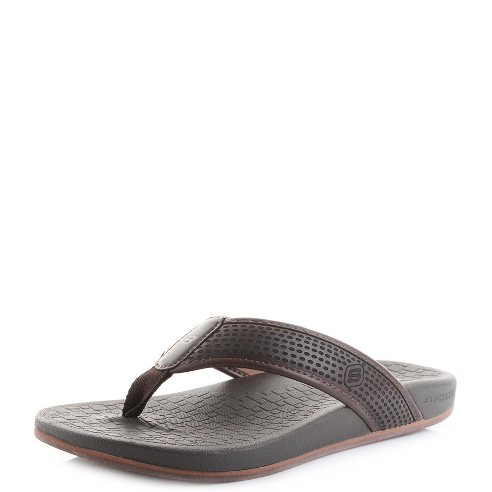 50ec5e909c63 Details about Mens Skechers Pelem Emiro Choc Comfort Sandals Flip Flops Shu  Size