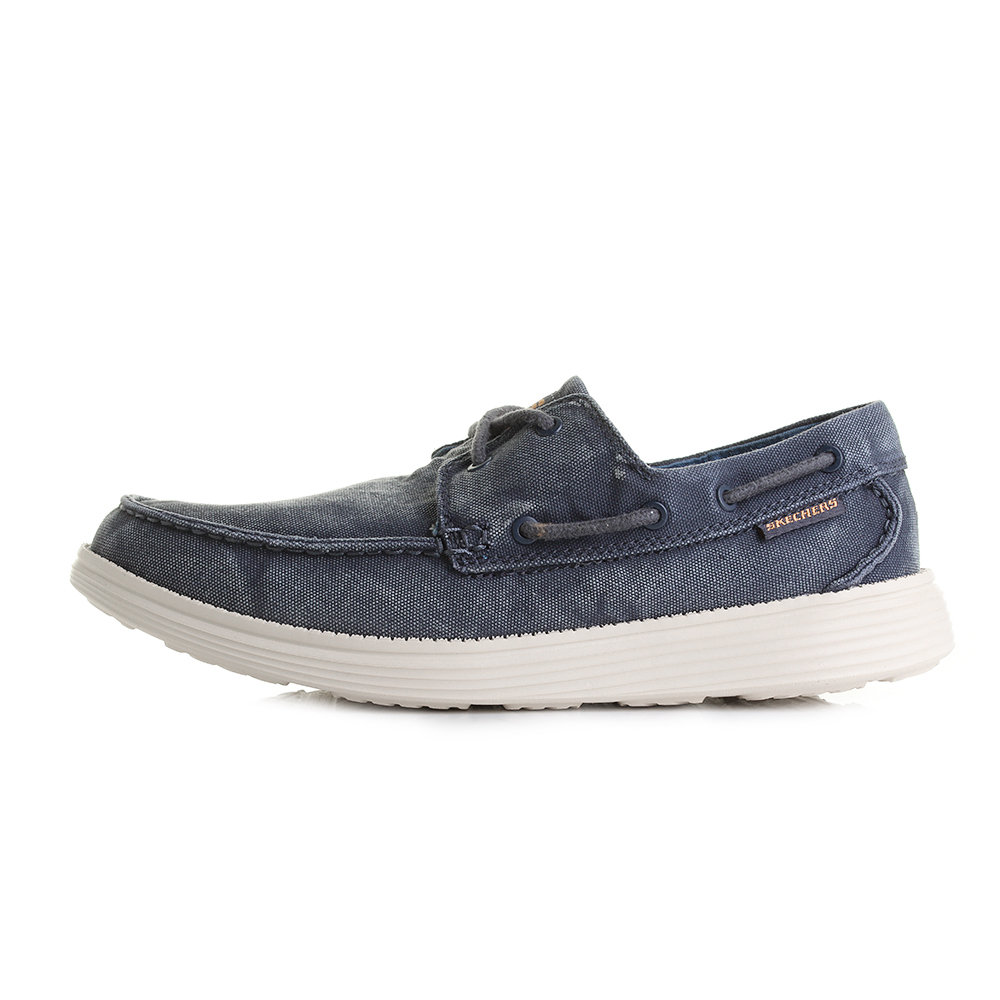 Mens-Skechers-Status-Melec-Navy-Washed-Canvas-Comfort-