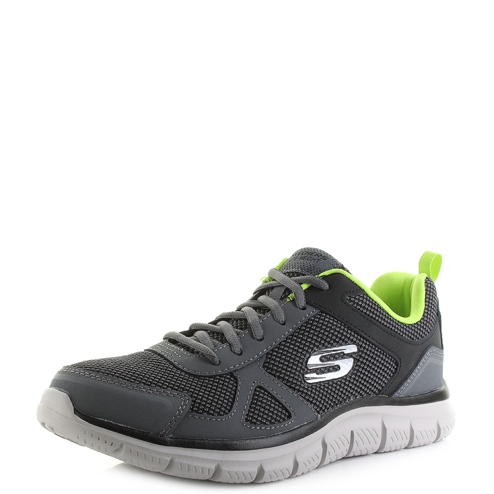 b9b64d2b7169 Mens Skechers Track Bucolo Charcoal Lime Lightweight Sports Trainers Sz Size