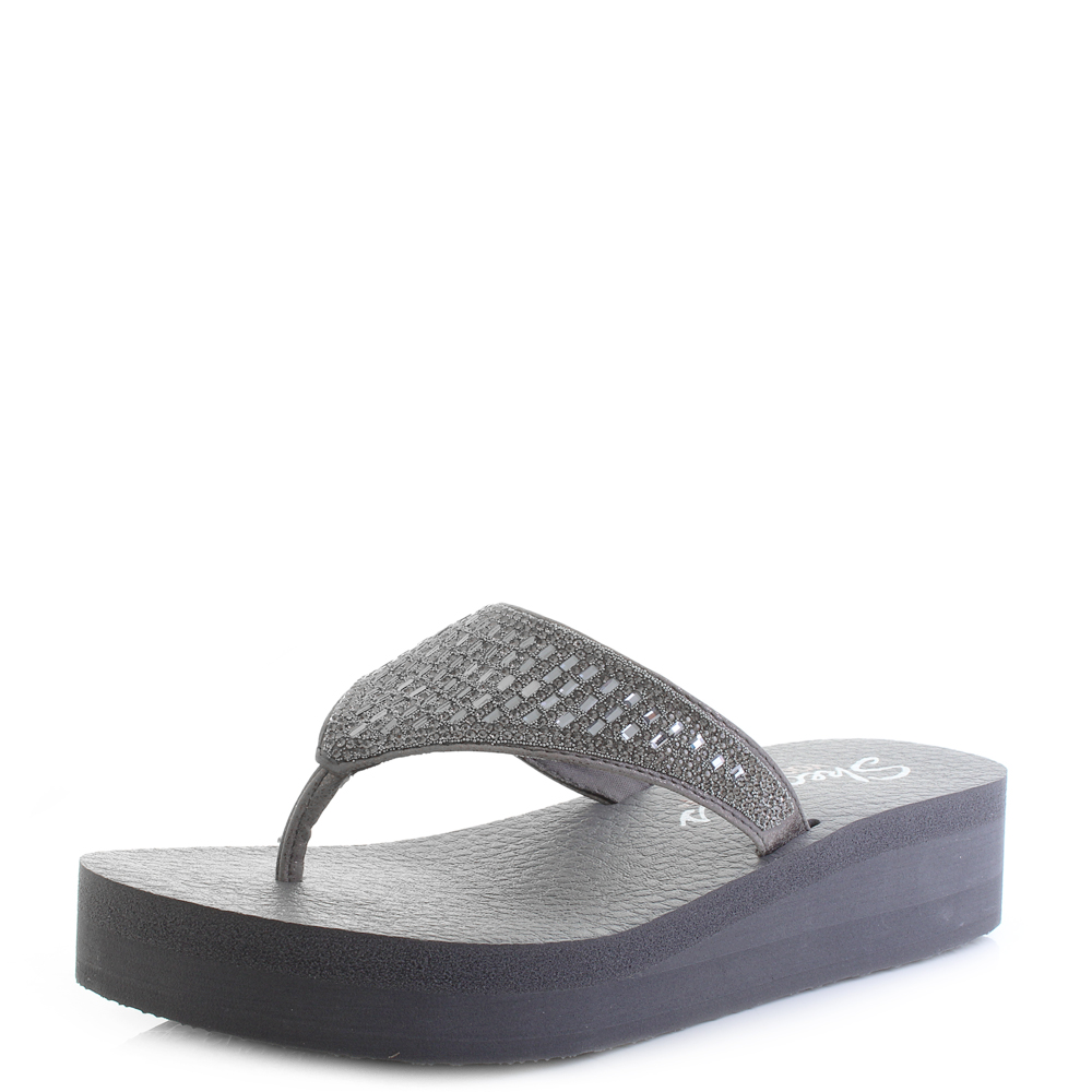 e83d1b17f Details about Womens Skechers Vinyasa Tiger Squad Pewter Grey Wedge Flip  Flops Shu Size