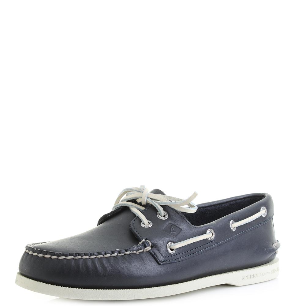 Mens Blue Leather Deck Shoes