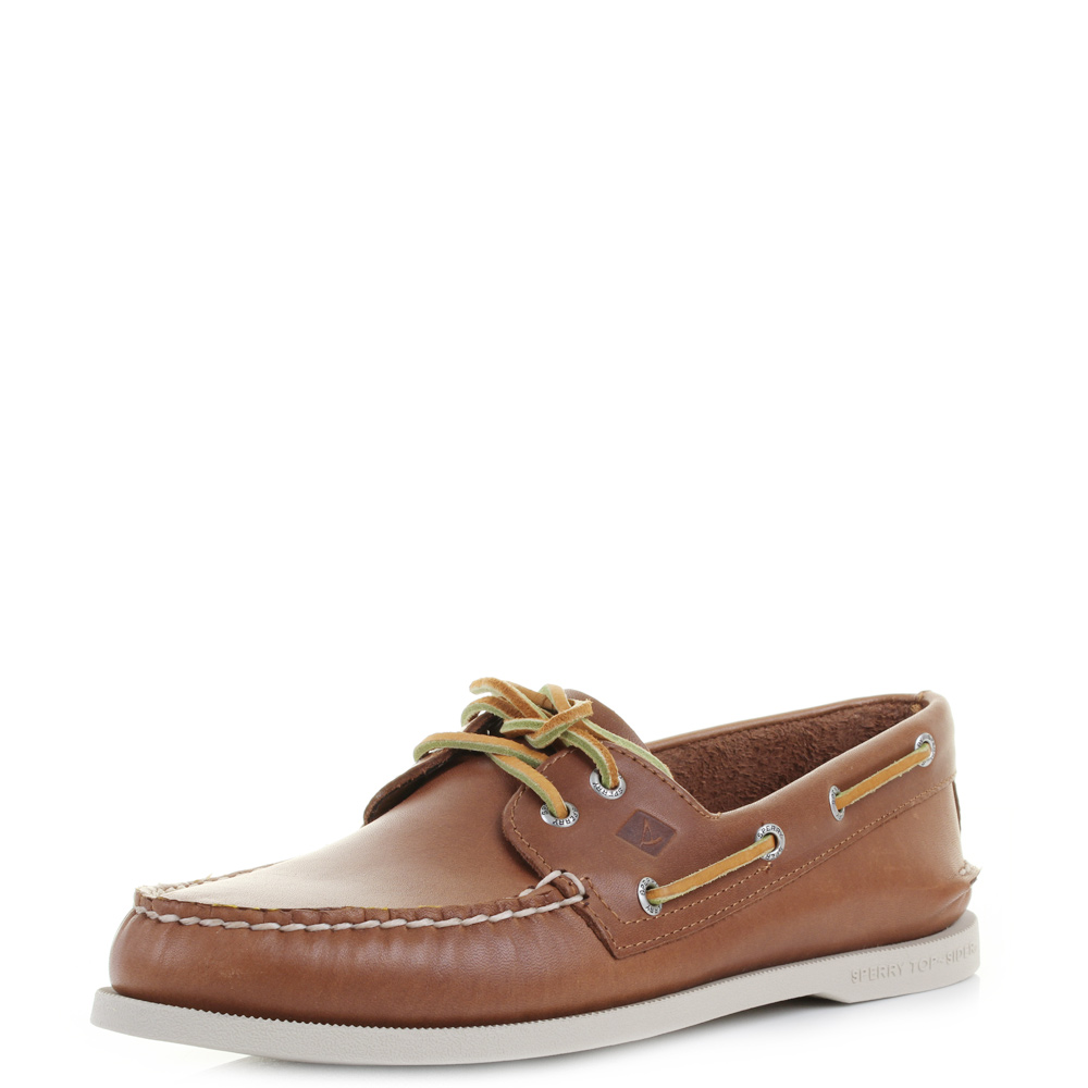 dc076ab981 Details about Mens Sperry Authentic Original A O 2-Eye Tan Leather Boat  Shoes Size