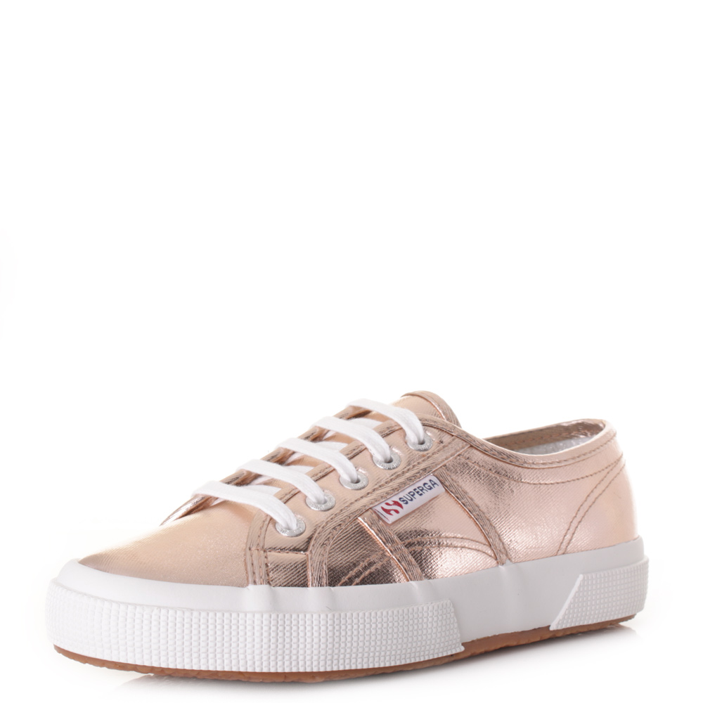 b6753082eff2 Womens Superga 2750 Cotmetu Rose Gold Metallic Lace Up Trainers Shoes Size