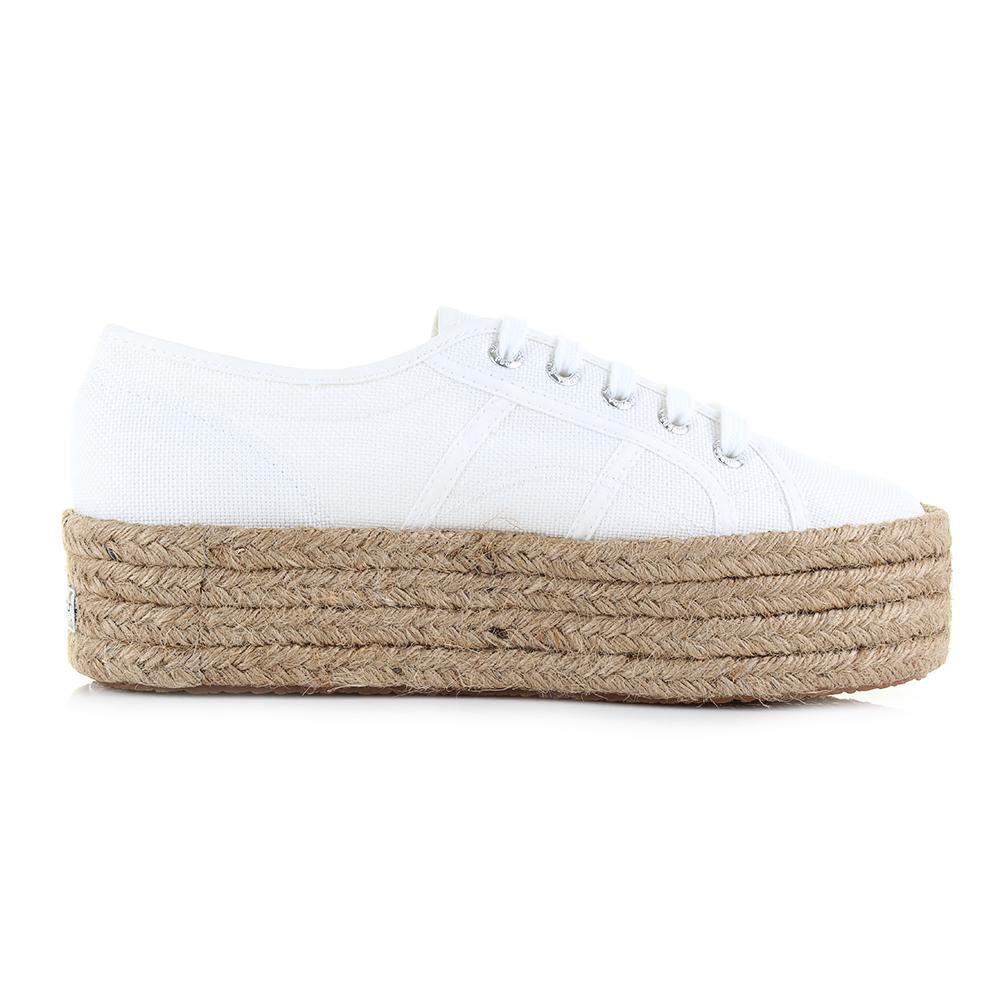 c838fa194 Womens Superga Cotropew White Canvas Platform Espadrille Shoes UK Size