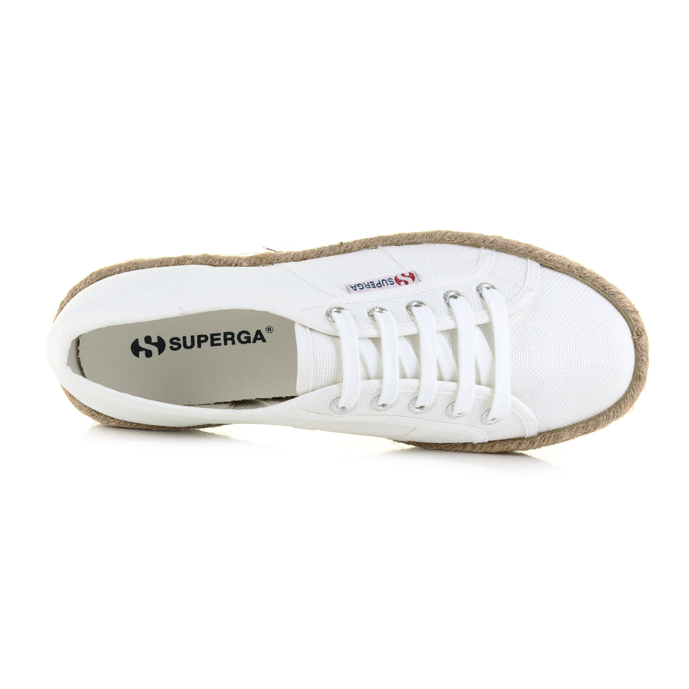 cf3862fe2a799 Womens Superga Cotropew White Canvas Platform Espadrille Shoes UK Size