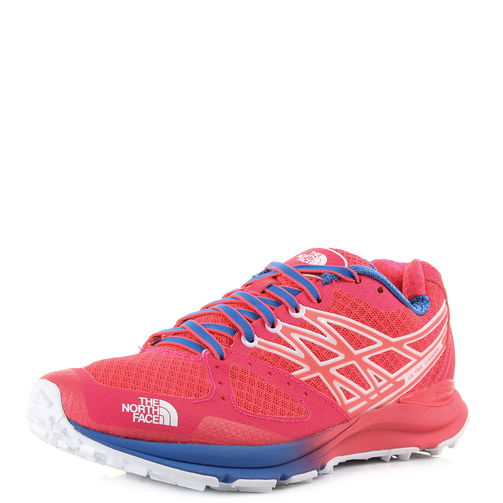 3805ae8ca Details about Womens North Face Ultra Cardiac Rocket Red Blue Pink Trail  Trainers Size