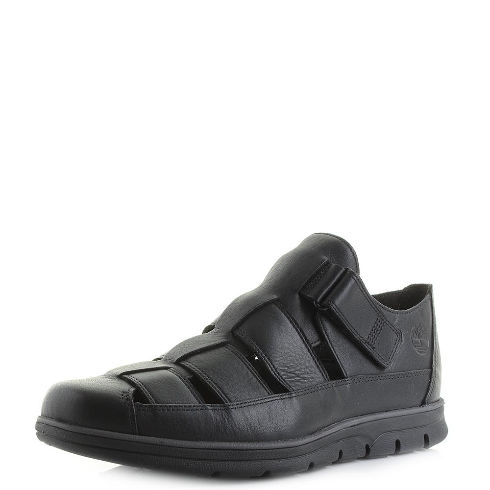 8abc98bf8c8f Mens Timberland Bradstreet Fisherman Jet Black Premium Leather Sandals Shu  Size