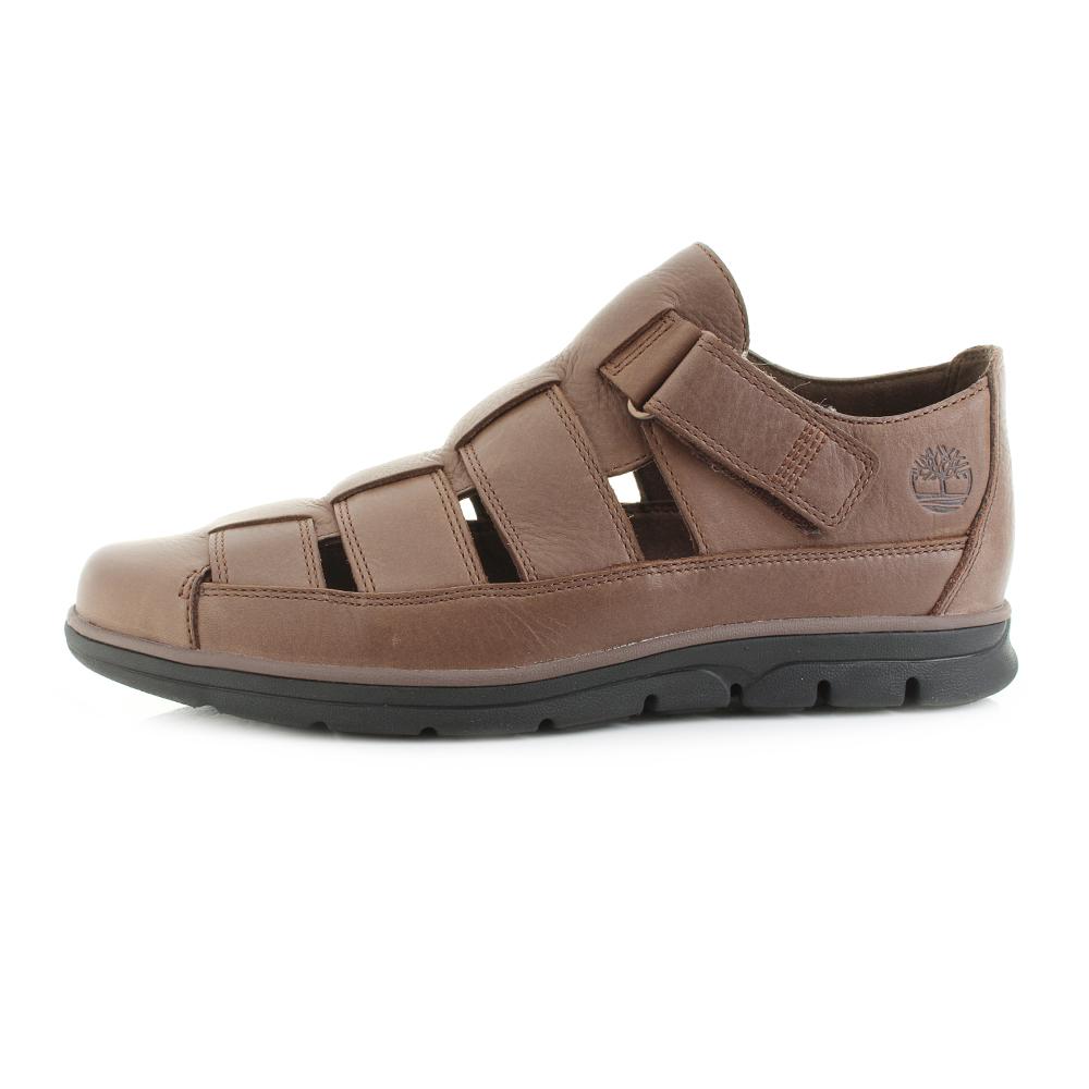 Mens Timberland Bradstreet Fisherman Potting Soil Brown Leather Sandals Shu Size  Ebay-7852